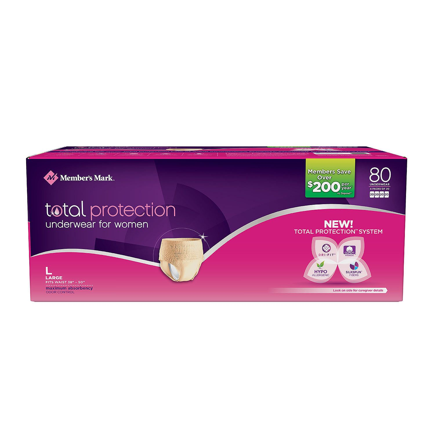 Member S Mark Total Protection Underwear For Women Large