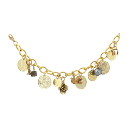 - Gold-Layered Foreign Coins Charm Bracelet Coin Jewelry