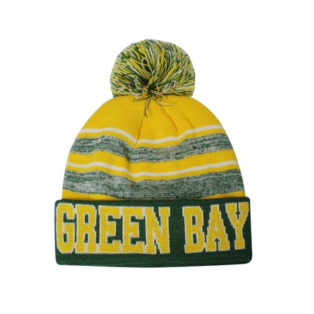 Green Bay Blended Colors Men's Winter Knit Pom Beanie Hat (Green/Gold) (Bday Hat)