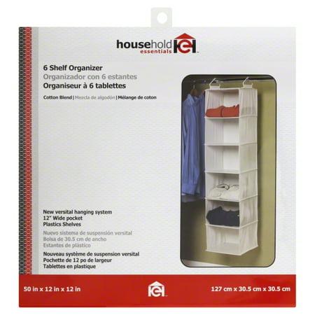 Household Essentials 6-Shelf Hanging Closet Organizer with Plastic Shelves, Natural Canvas