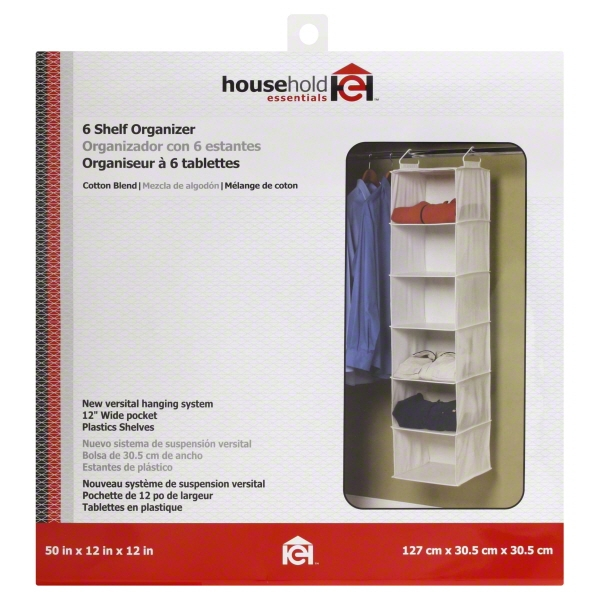 Household Essentials 6-Shelf Hanging Closet Organizer with Plastic Shelves, Natural Canvas