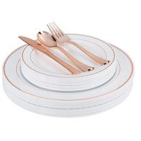 Premium 200 Piece Plastic Dinnerware Set - Includes 40 of Each: Dinner Plates, Dessert Plates, Forks, Spoons & Knives - Rose Gold