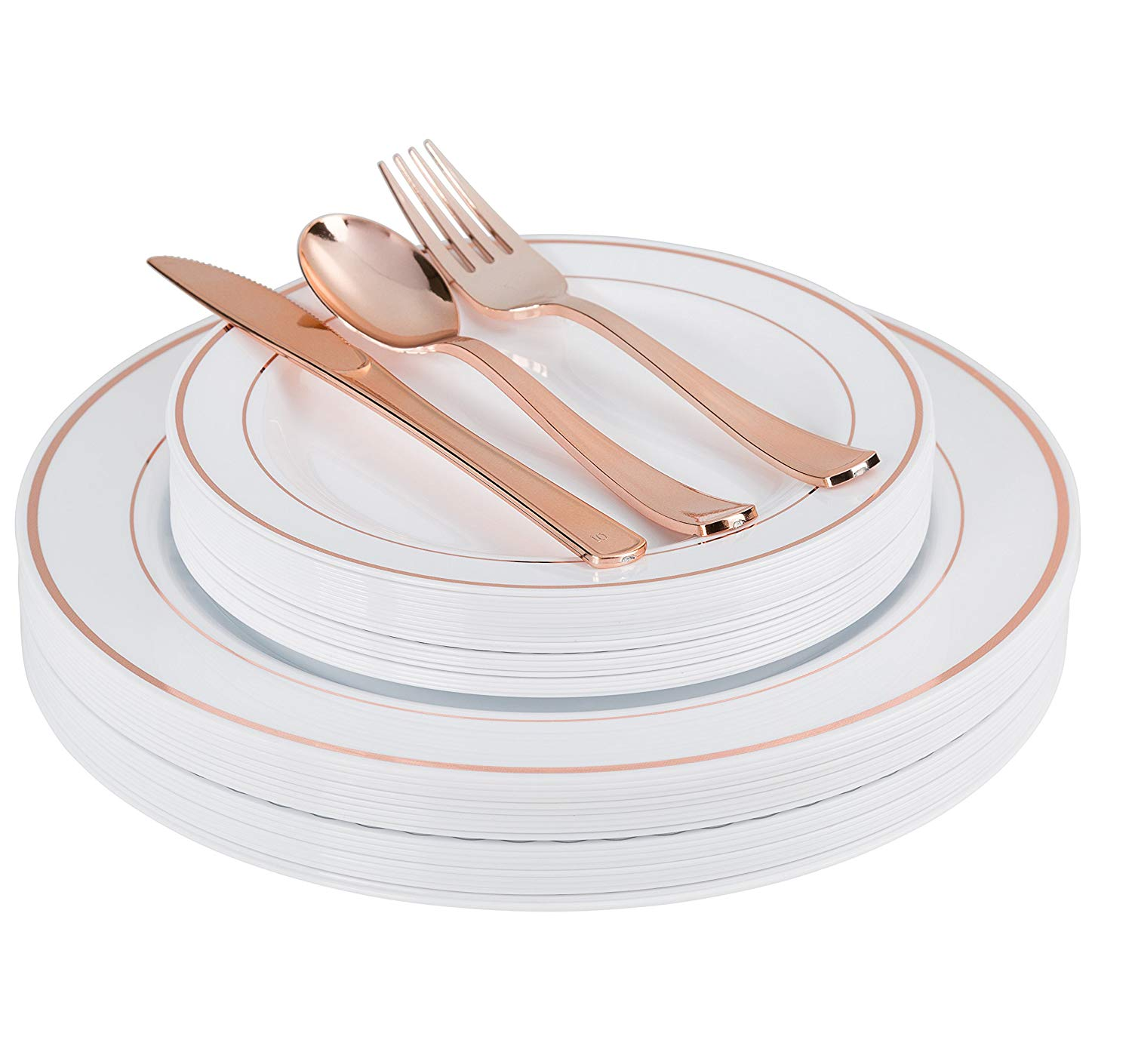 Exquisite 200 Piece Plastic Dinnerware Set - Includes 40 of Each: Dinner Plates, Dessert Plates, Forks, Spoons & Knives - Rose Gold