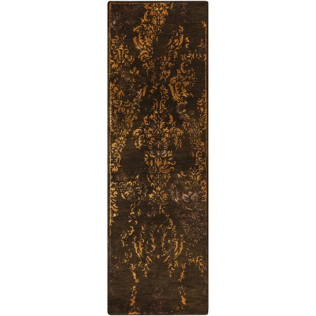2.5' x 8' Regal Splendor Chocolate Brown and Gold Hand Tufted Wool Area Throw Rug Runner