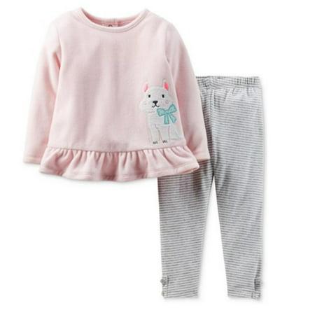 Carters Pink 2 Piece - Carters Infant Girl 2 Piece Set PInk Dog Sweatshirt Stripe Gray Leggings 6m