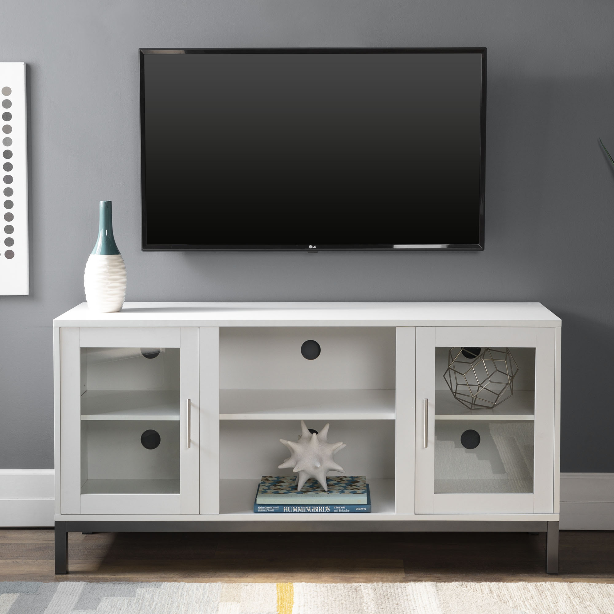"""52"""" Modern Wood Media TV Stand Storage Console with 2 Storage Cabinets - White"""