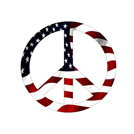 Red White Blue Usa Peace Sign Symbol Decal Sticker American Flag Usa