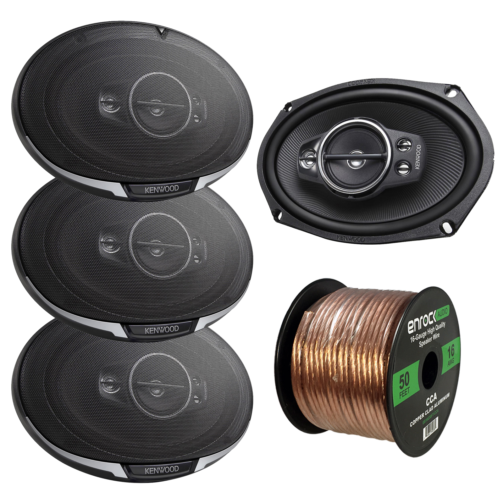 "2 x Kenwood KFC6995PS 6X9"" 650W 5-Way Speakers (2 pairs), and Enrock Audio 16-Gauge 50 Foot Speaker Wire"