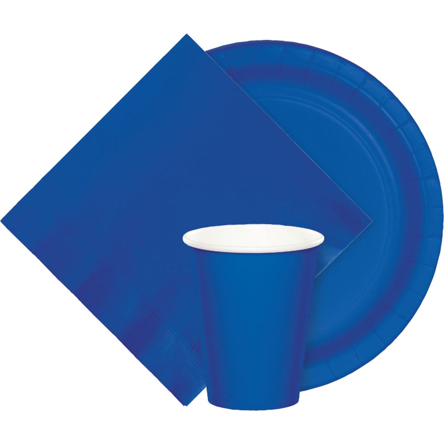 Club Pack of 96 Cobalt Blue Disposable Paper Hot and Cold Drinking Party Cups 9 oz.