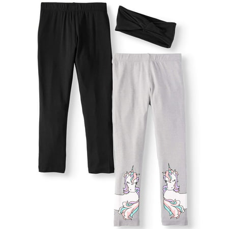 Freestyle Revolution Solid and Unicorn Printed Leggings with Headband, 2-Pack (Little Girls & Big Girls)](Little Pixie Clothes)