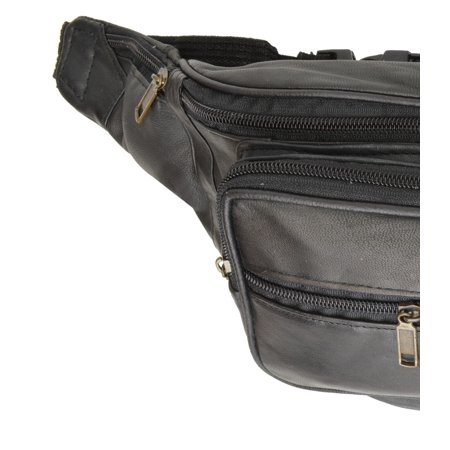 Top Grain Black Genuine Leather Waist Bag/Fanny Pack/ Waist Hip Purse 524 (C) Black