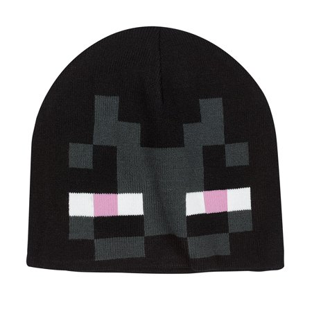 Minecraft Character Enderman Beanie Winter Knit Cap Hat Block Face Graphic Design w/ Eyes Cartoon Monster Creature Video Game Merchandise Black (One Size fits most) (Dash Cartoon Character)