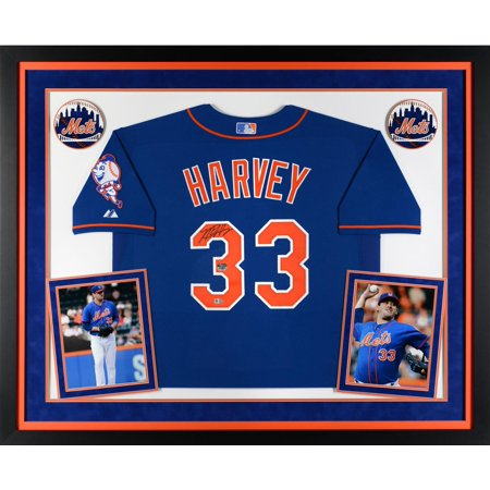 Matt Harvey New York Mets Deluxe Framed Autographed Blue Authentic Jersey by