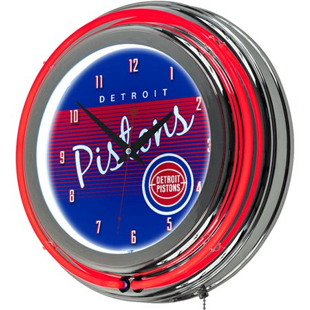 Detroit Pistons Hardwood Classics NBA Chrome Neon Clock by
