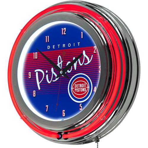 Detroit Pistons Hardwood Classics NBA Chrome Neon Clock