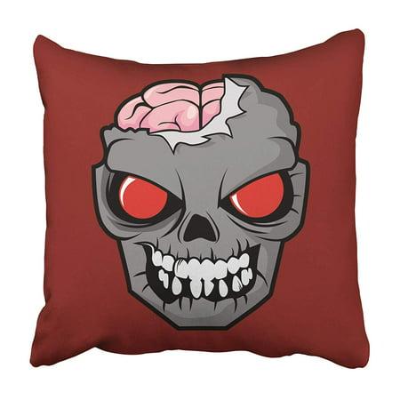 Halloween Scary Movie Clips (ARHOME Red Mask Undead Head Brain Comic Halloween Horror Movie Eye Scary Pillowcase 18x18)