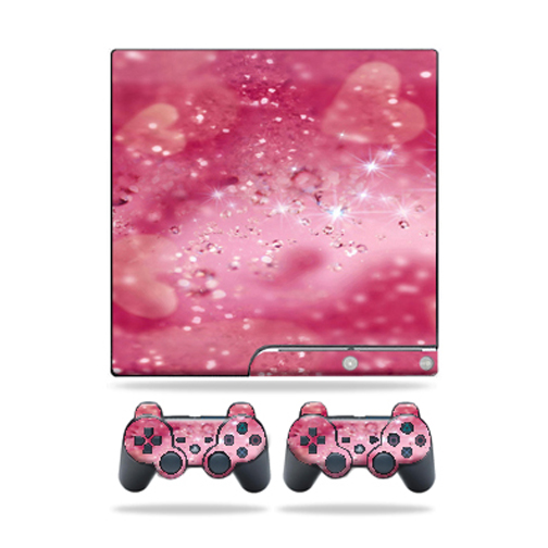Mightyskins Protective Vinyl Skin Decal Cover for Sony Playstation 3 PS3 Slim skins + 2 Controller skins Sticker Pink Diamonds
