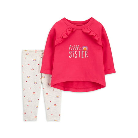 Child of Mine by Carter's Toddler Girls Long Sleeve T-shirt & Leggings, 2-Piece Outfit Set (Sizes 2T-5T)