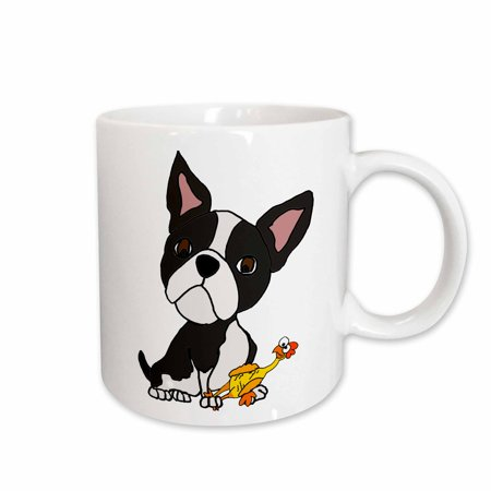 3dRose Funny Cute Boston Terrier Puppy Dog with Rubber Chicken Toy - Ceramic Mug,