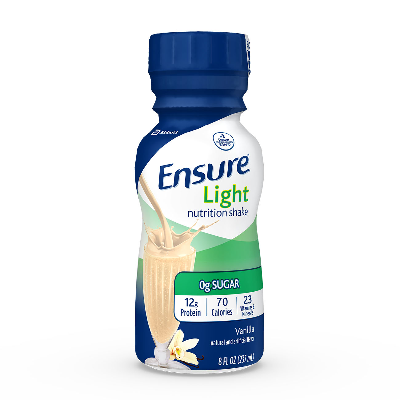 Ensure Light Nutrition Shake, 12g of high-quality protein, 0g Sugar, 2g Fat, Vanilla, 8 fl oz, 6 Count