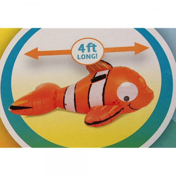 Clown Fish Ride-On Inflatable with Sturdy Handles and Googly Eyes - 4 Ft Long by Play Day
