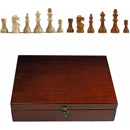 "English Staunton Tournament Chess Pieces in Wooden Box, Weighted with 3.75"" King by Generic"