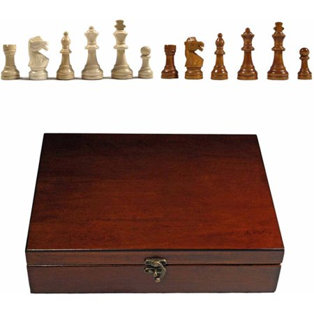 English Staunton Tournament Chess Pieces in Wooden Box, Weighted with 3.75