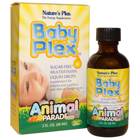 Animal Vitamins - Nature's Plus, Source of Life, Animal Parade, Baby Plex, Sugar Free Multivitamin Liquid Drops, Natural Orange Flavor, 2 fl oz (pack of 6)