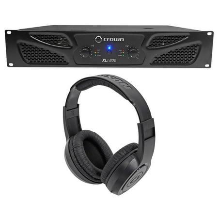 Crown Pro XLi800 600w 2 Channel DJ/PA Power Amplifier Amp XLI 800 + Headphones