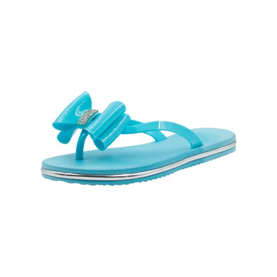 d135ac9d59c8 Sara Z - Sara Z Girls Bows and Rhinestones Patent Flip Flops with Racing  Stripe Soles Turquoise Size 11 12 Turquoise - Walmart.com