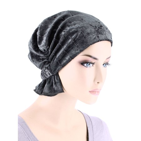 Turban Plus The Abbey Cap ® Womens Chemo Hat Beanie Scarf Turban for Cancer Stretch Velour Sequin Pearl Gray - Velour Hat
