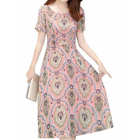 Funcee Women Fashion Korean Printed Long A-line Dress ()
