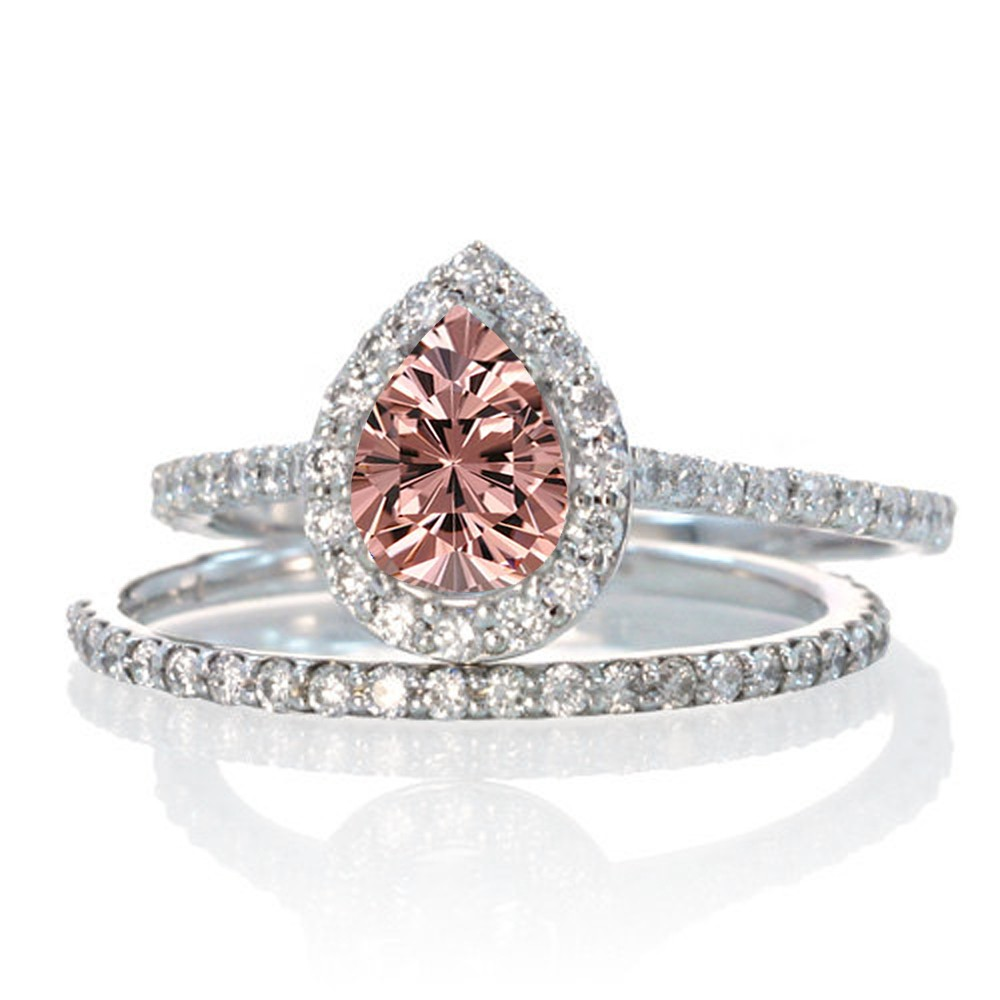 2 Carat Pear Cut Morganite Halo Bridal Set for Woman on 10k White Gold by JeenJewels