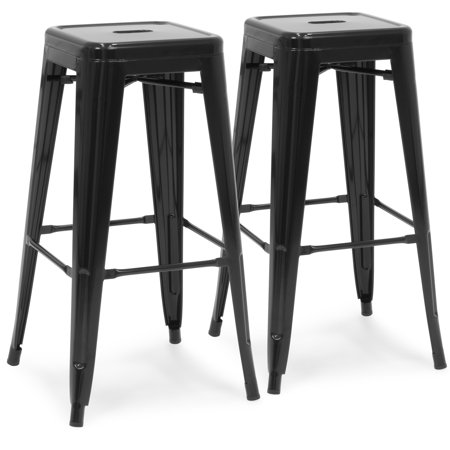 2 Hole Kitchen - Best Choice Products 30in Metal Modern Industrial Bar Stools with Drainage Holes for Indoor/Outdoor Kitchen, Island, Patio, Set of 2, Black