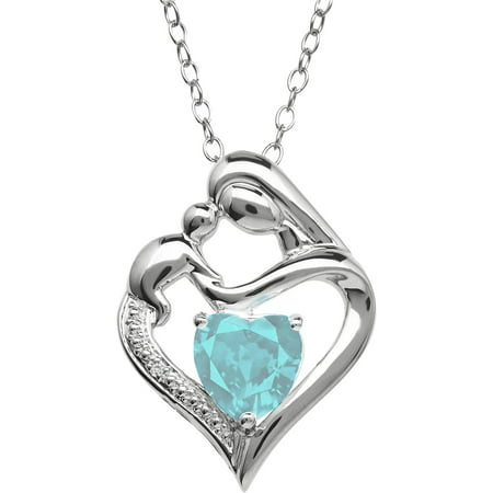 Sky Blue Topaz and Diamond Accent Pendant in Sterling Silver, 18