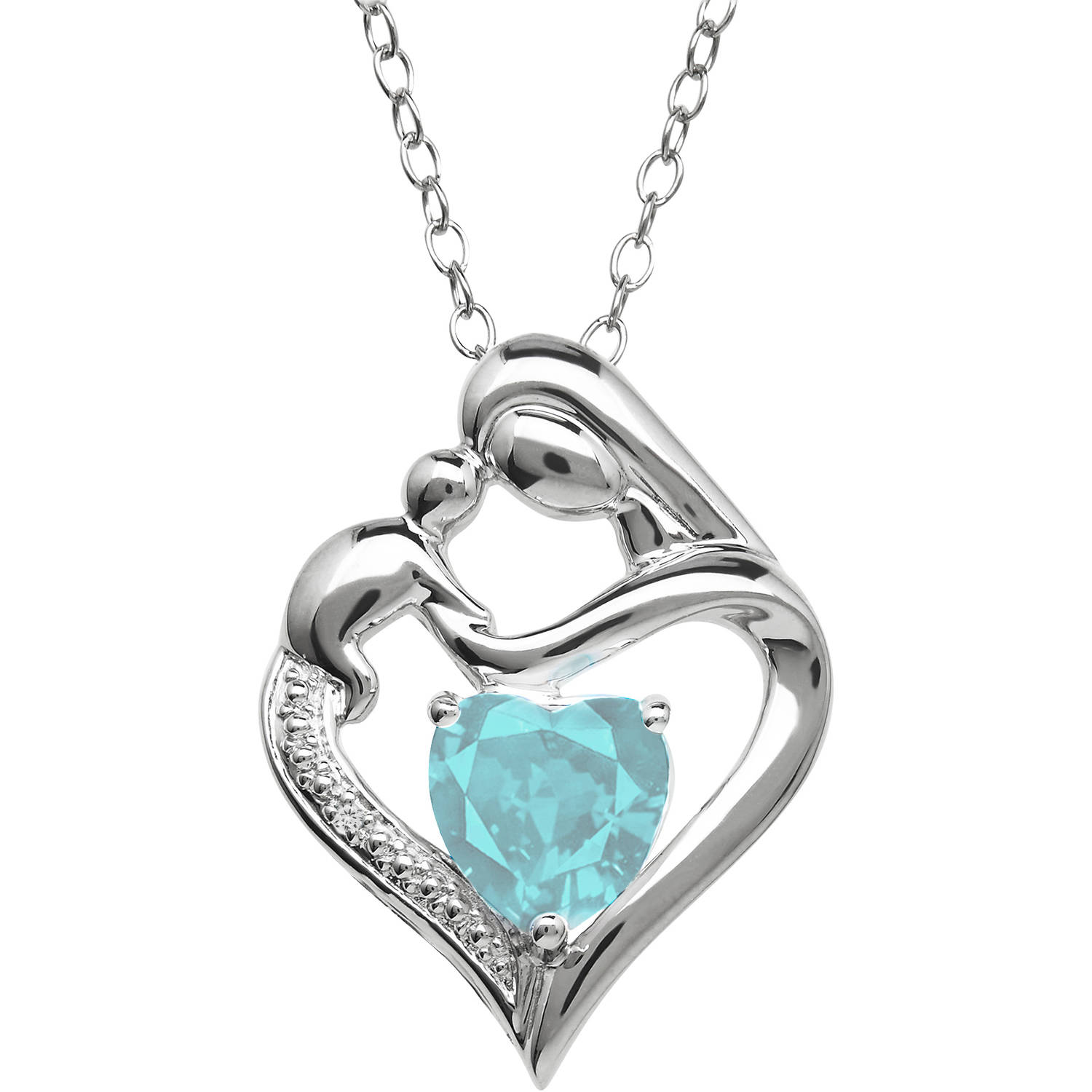 Mother and Child Sky Blue Topaz and Diamond Accent Pendant in Sterling Silver, 18""