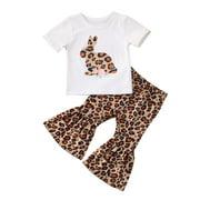 Seyurigaoka Kid Baby Girl Cute Bunny Short Sleeve Ruffle Flare Pants Trousers