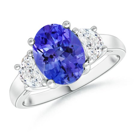 December Birthstone Ring - Three Stone Oval Tanzanite and Half Moon Diamond Ring in Platinum (9x7mm Tanzanite) - (Oval Tanzanite Platinum Ring)
