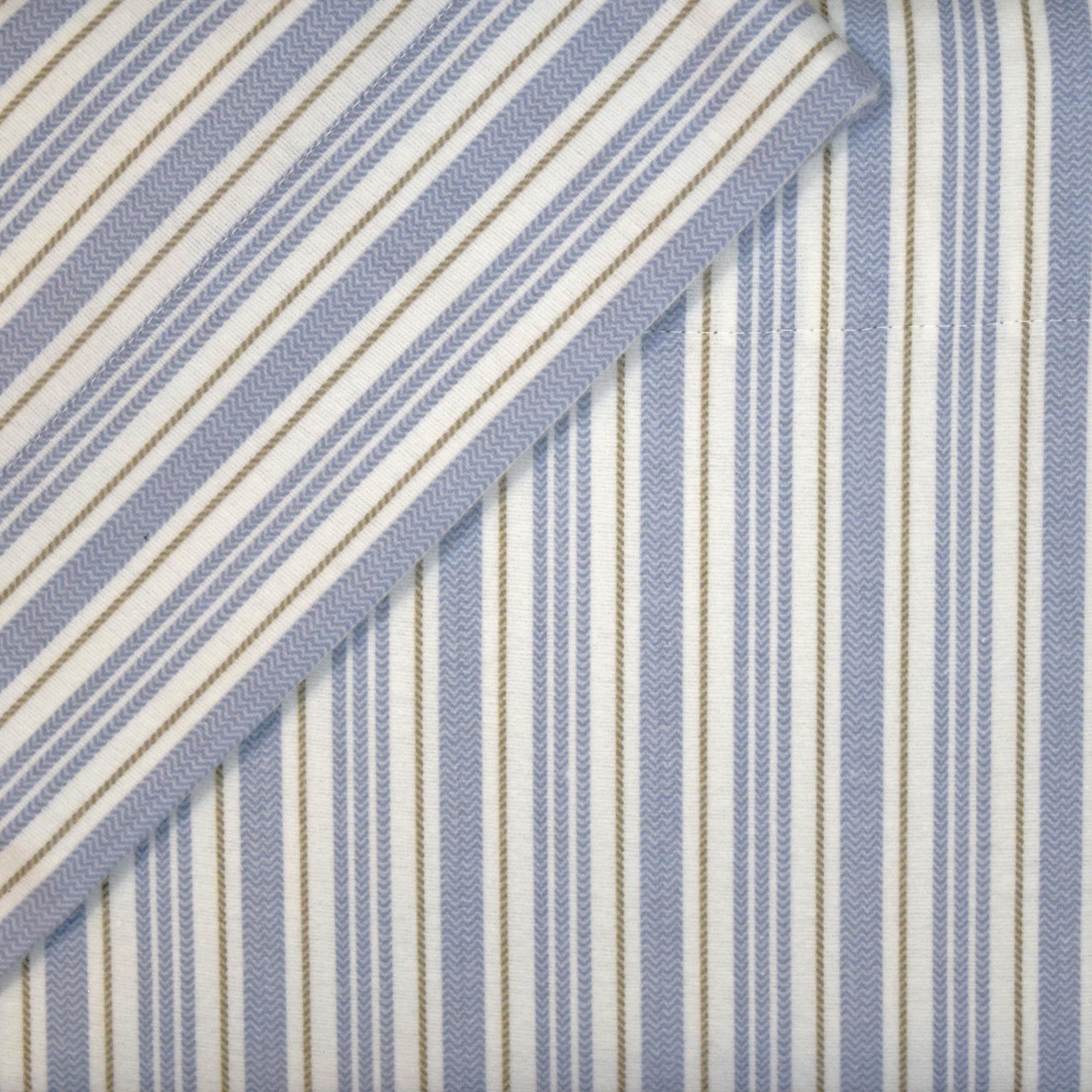 Cuddl Duds Queen Flannel Sheet Set 4 Piece 100 Cotton Deep Pocket Heavyweight Bed Sheets Blue Stripe Walmart Com Walmart Com