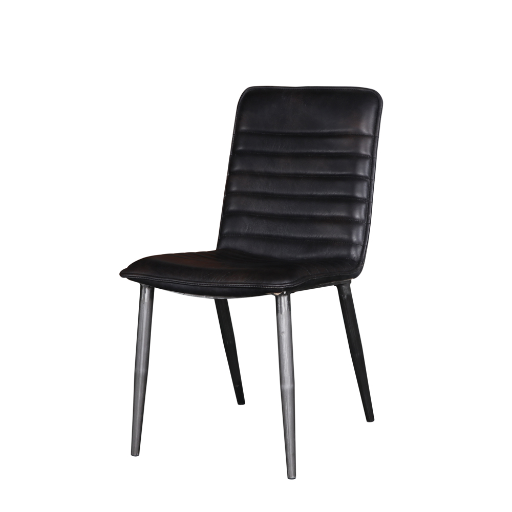 Acme Furniture Set of 2 Hosmer Side Chair Leather Antique Black