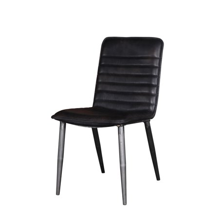 Black Polished Full Grain (Acme Furniture Hosmer Side Chair (Set of 2), Black Top Grain Leather & Antique)