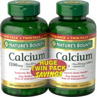 Nature's Bounty Absorbable Calcium, 1200mg, Plus Vitamin D3 25mcg (1,000 IU), 240 Softgels (Pack of 2), Mineral Supplement to Support Bone Health
