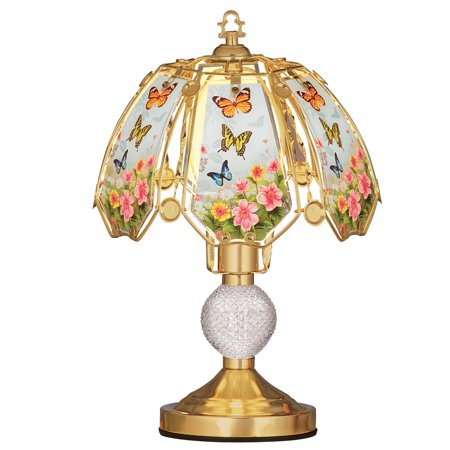 Floral Butterflies Glass Shade 3-Light Touch Lamp - 16 - Butterfly Stained Glass Table Lamp