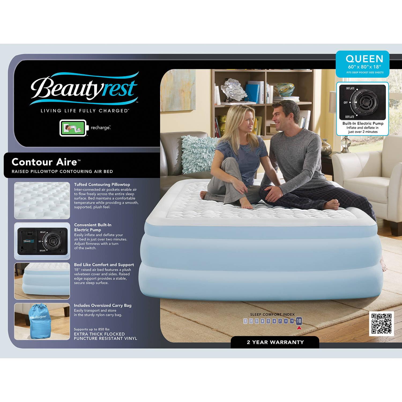 beautyrest queen air mattress Simmons Beautyrest Silver Contour Aire with Internal Pump Raised  beautyrest queen air mattress
