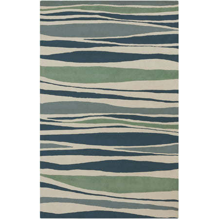 3.25' x 5.25' Colorful Shreds Algean Blue and Slate Gray Hand Tufted Wool Area Throw Rug ()