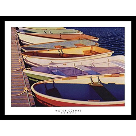 buyartforless FRAMED Water Colors by Rob Brooks 24x18 Art Print Poster Nautical Ocean Port Side Colorful Row Boats Attached to Dock