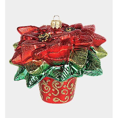 Pinnacle Peak Trading Co Pinnacle Peak Glass Red Poinsettia Plant in a Port Christmas Ornament