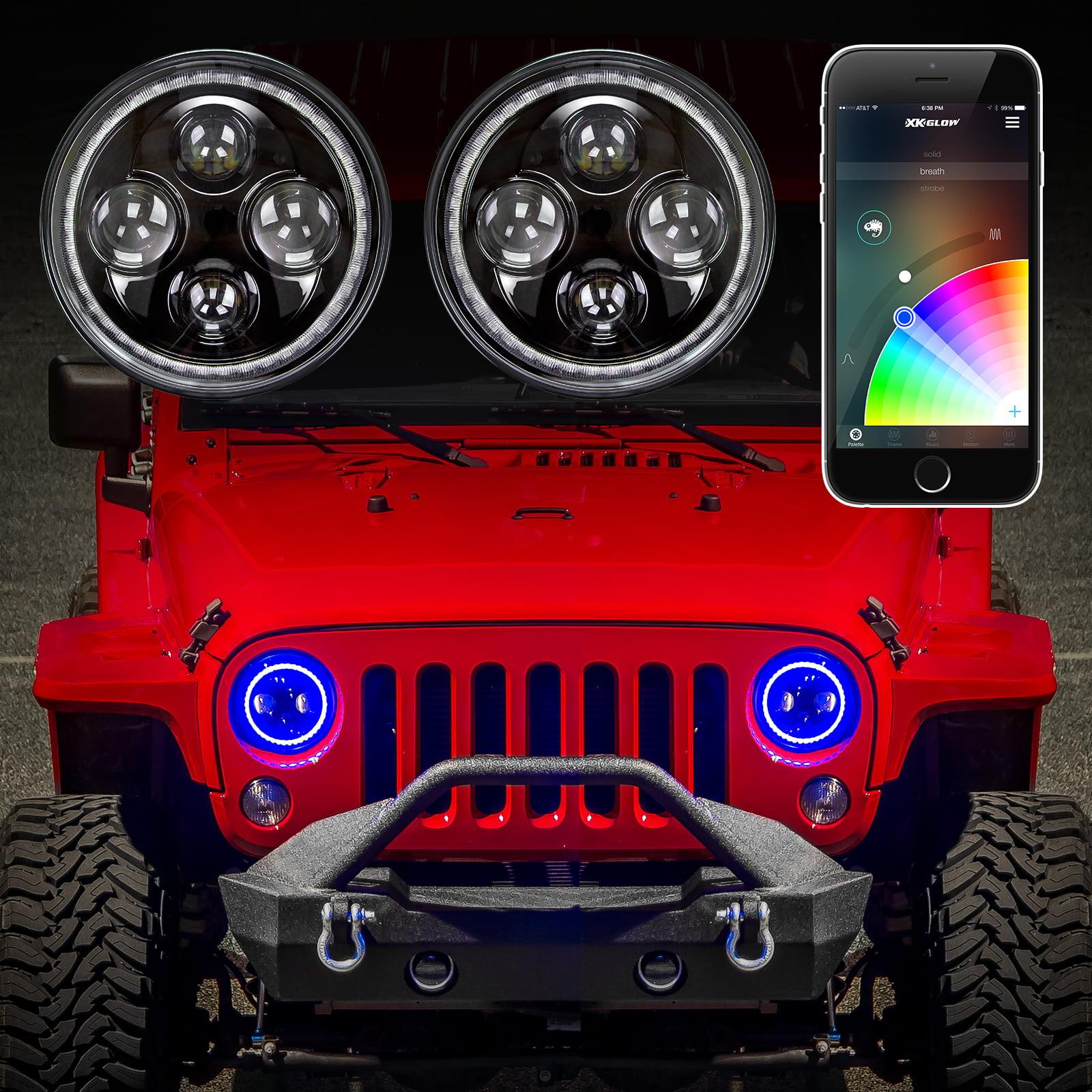 "XKchrome App Control 2pc 7"" Jeep RGB Halo LED Headlight Kit"