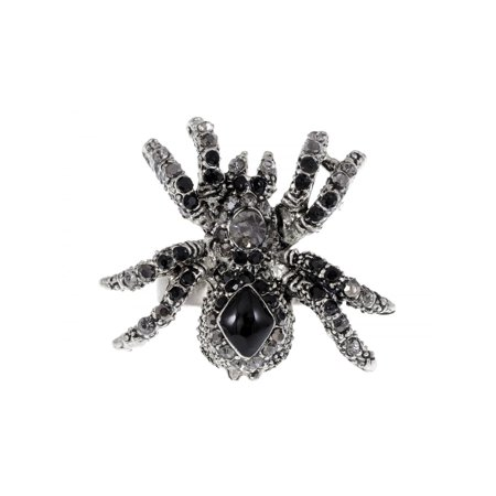 Fashion Jewelry Black Spider Crystal Rhinestone Adjustable Ring Halloween](Spider Rings Bulk)