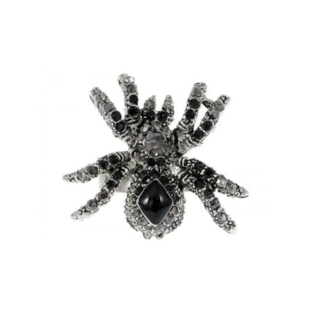 Fashion Jewelry Black Spider Crystal Rhinestone Adjustable Ring Halloween - Rhinestone Rings